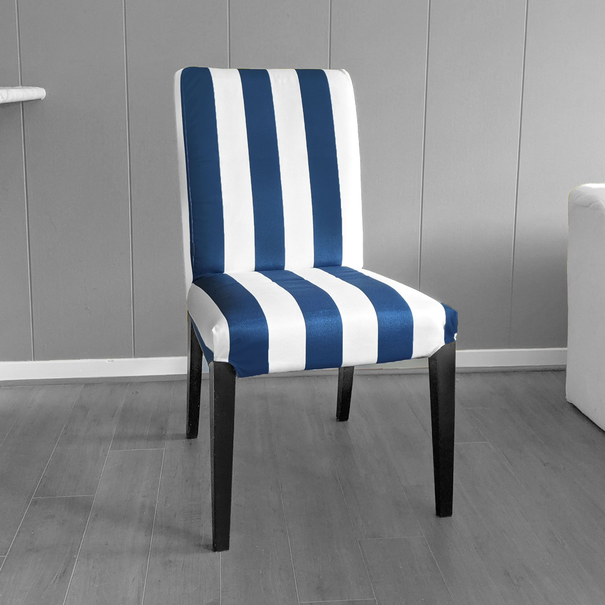 Fanback Chair With Navy Stripe: IKEA Henriksdsal Dining Chair Cover, Navy Blue Cabana