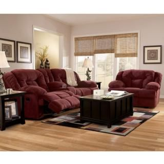 Tundra Burgundy Reclining Living Room Group