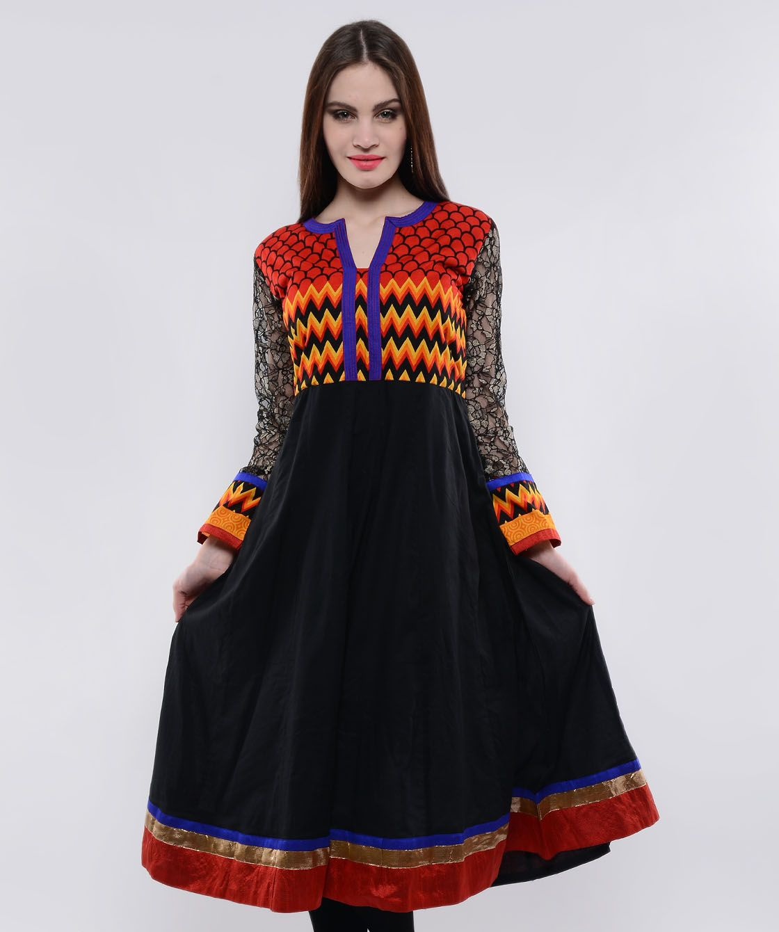 It's time for a stimulating and trendy change for your closet! Amaze yourself with a sophisticated and elegant avatar with this startling collection of gorgeously designed kurtas and kurtis. Unveiling shades, flairs and several fits, the range has the whole package to reinvent style in its best form. So flaunt a refreshing new look today! BRAND: NavvyyaCATEGORY: KurtaCOLOUR: Black and MultiMATERIAL: Cotton & Poly NetSIZE: This product conforms to standard brand sizing. For your shopping ...