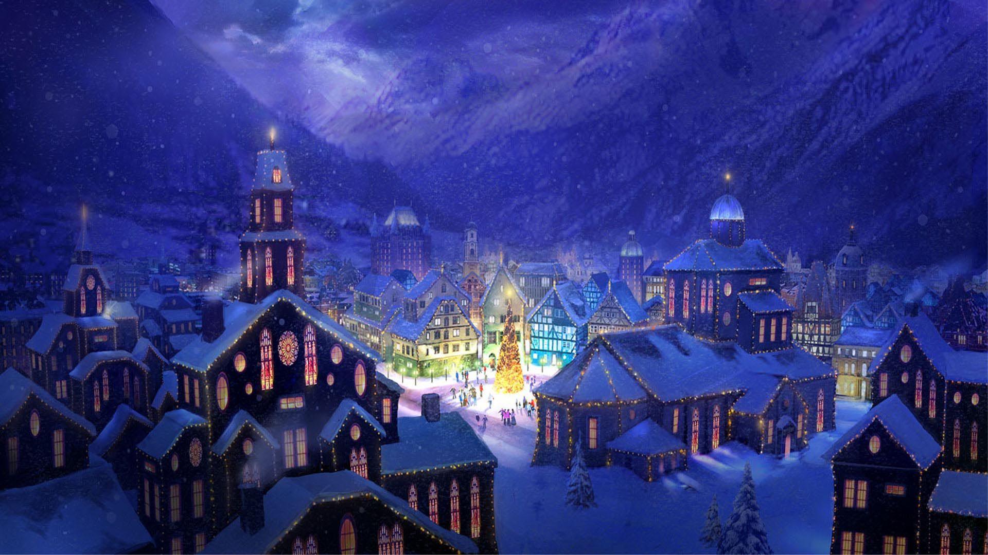 Christmas Village Square Hd Wallpaper Fullhdwpp Full Hd Wallpapers 1920x1080 Christmas Wallpaper Hd Christmas Town Christmas Landscape
