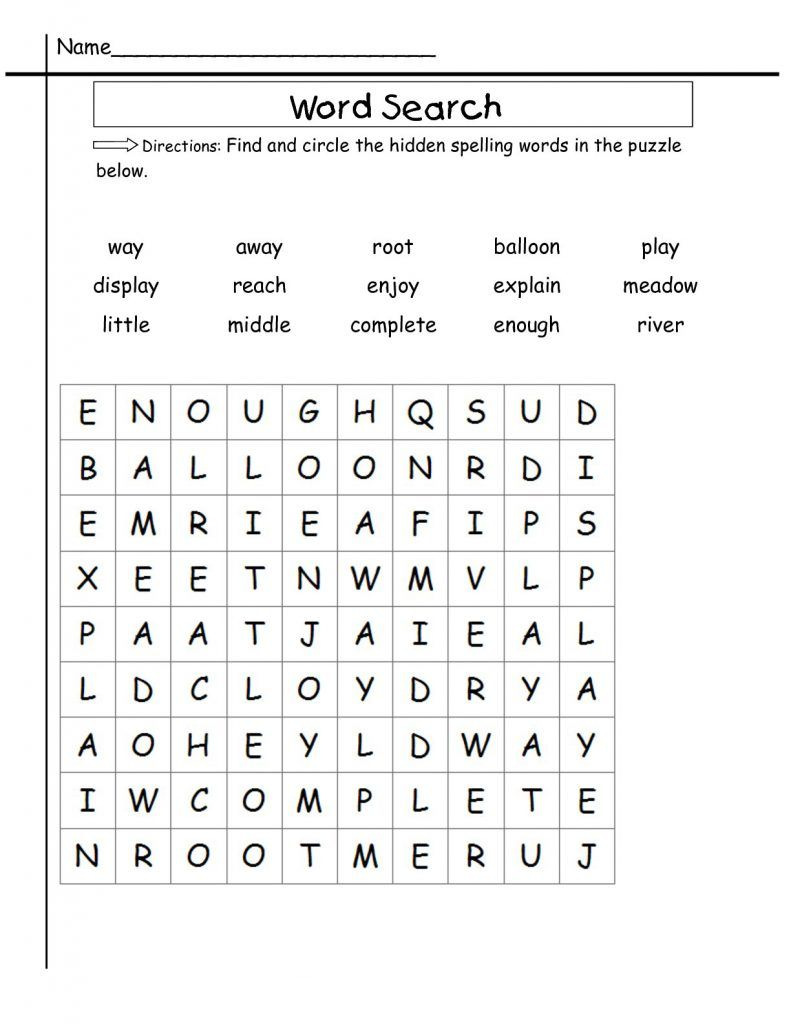 2nd Grade Word Search Sight word worksheets, 2nd grade