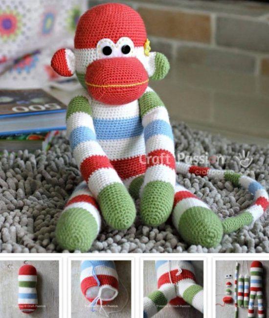 Sock Monkey Crochet Pattern Free Pattern Monkey And Socks
