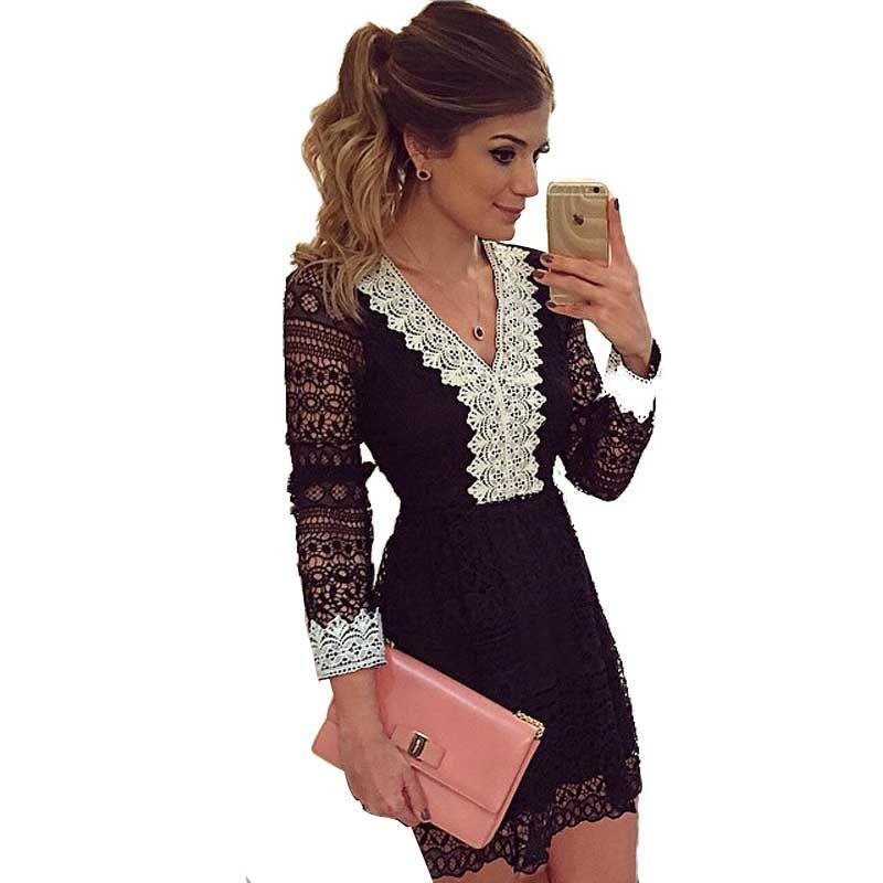 7ca00ad0d05 Elegante manga comprida Lace Sexy mulheres Vestido magro cintura Vestido De  Festa meninas vestidos Crochet VNeck