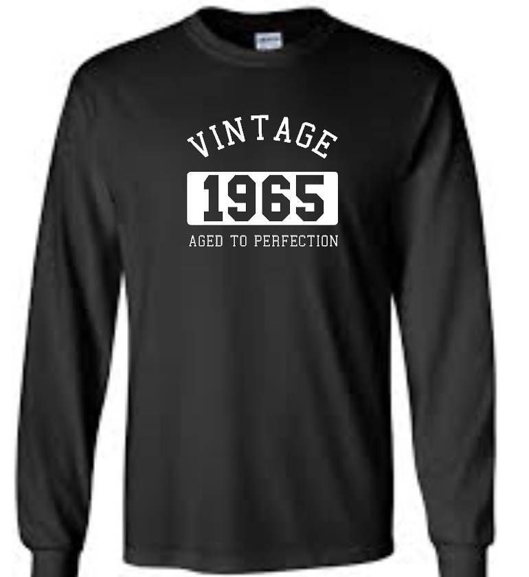 Vintage 1965 Birthday T-Shirt Aged To Perfection Mens Long Sleeve Tee #Gildan #GraphicTee