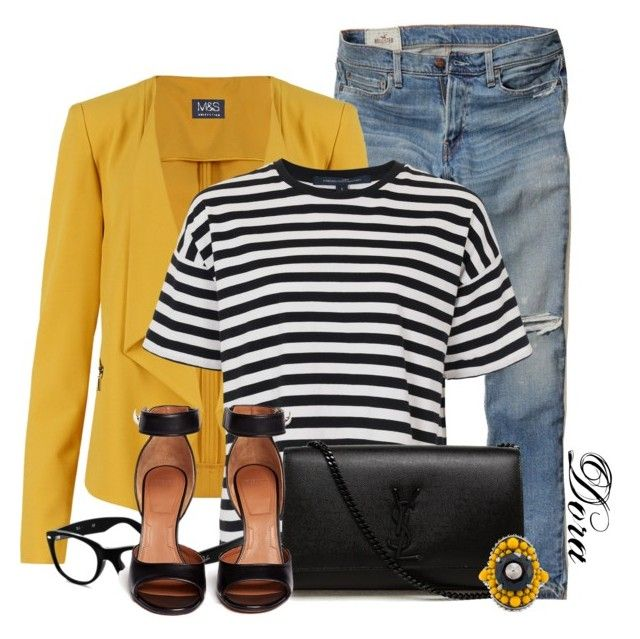 """""""Untitled #5798"""" by doradabrowska on Polyvore featuring Hollister Co., M&S Collection, French Connection, Yves Saint Laurent, Ray-Ban, Givenchy and Gucci"""