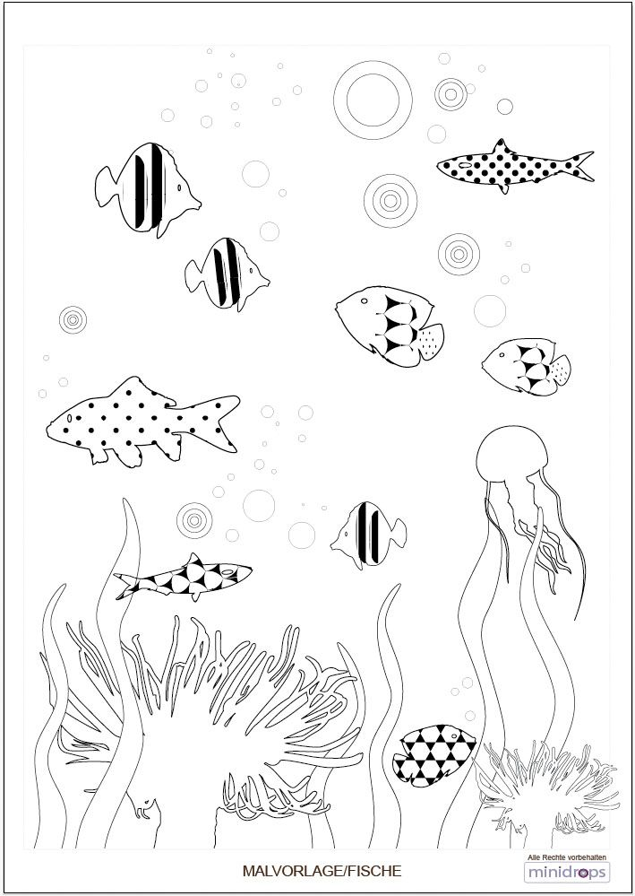 Malvorlage Unterwasserwelt Kindergeburtstag Meerjungfrau
