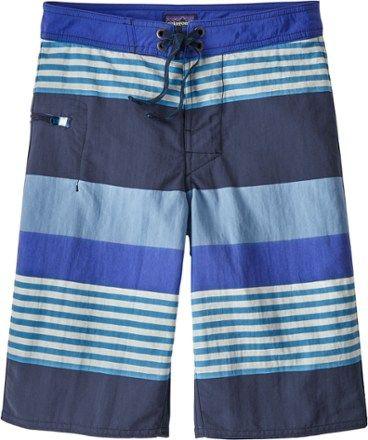 4afbe25a18 Patagonia Boy's Wavefarer Board Shorts Railroad Blue/Fitz Stripe 12 Kids