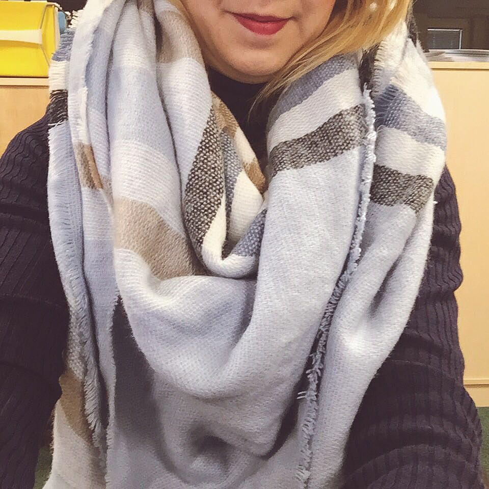 Today was all about the blanket scarf (@asos) even in the office - I was freeeeezing inside today #hellonovember #scarf