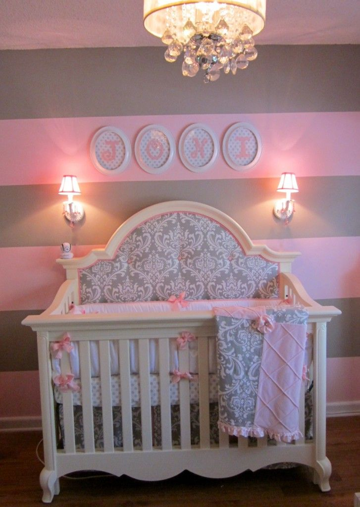 Pink and gray for baby j extra fabric baby bedding and for Grey nursery fabric