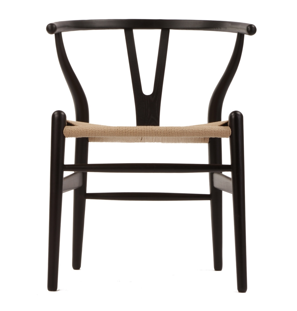 CH24 Wishbone Chair Black & Natural Paper Cord Seat