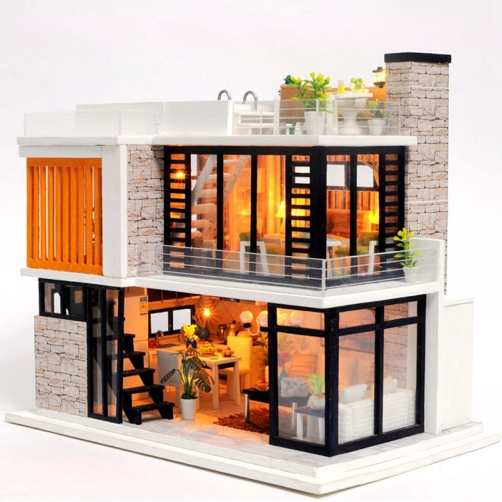 Miniature Wooden Diy Doll House Building Set In 2020