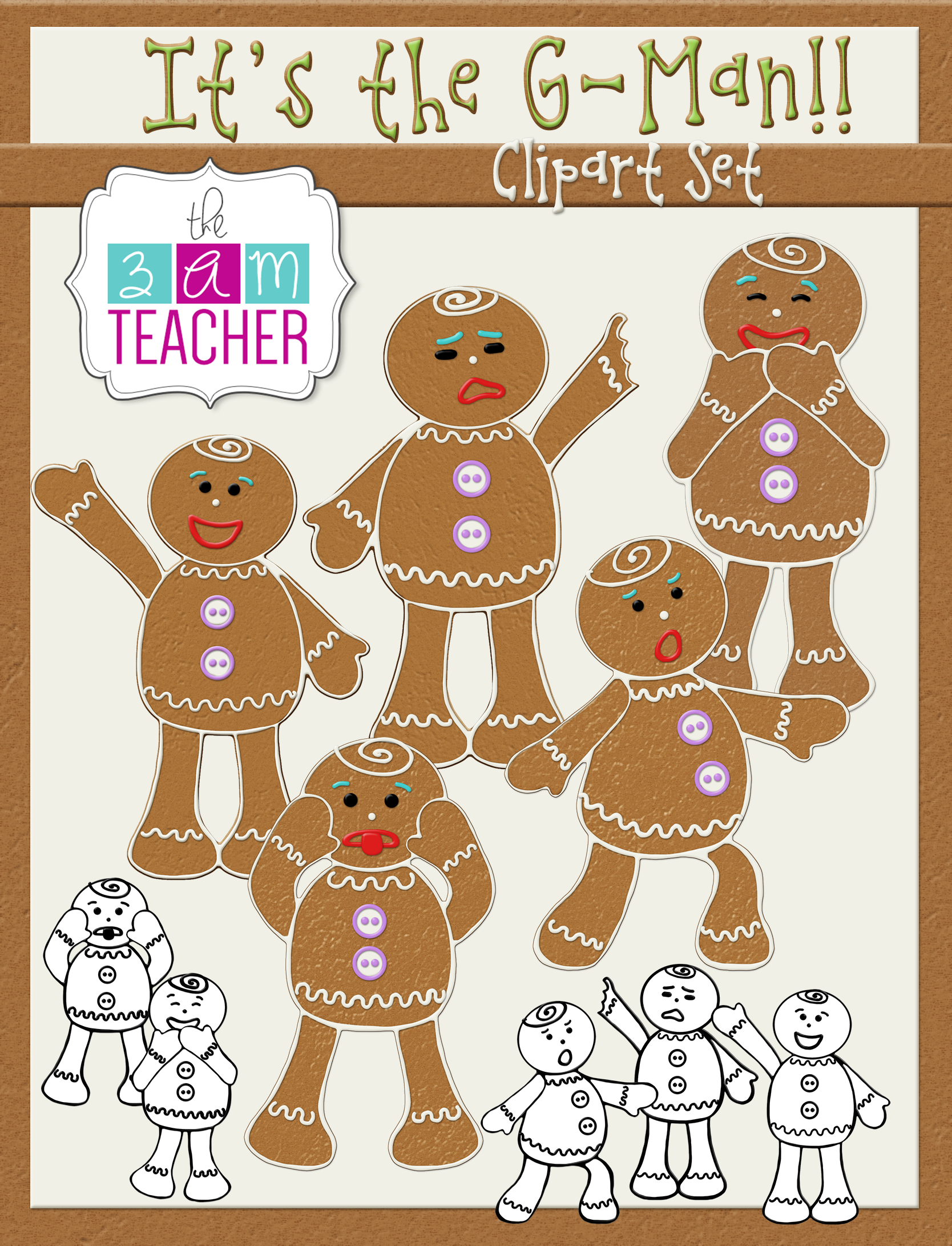 it's the g-man: gingerbread man clip art set | digital classroom