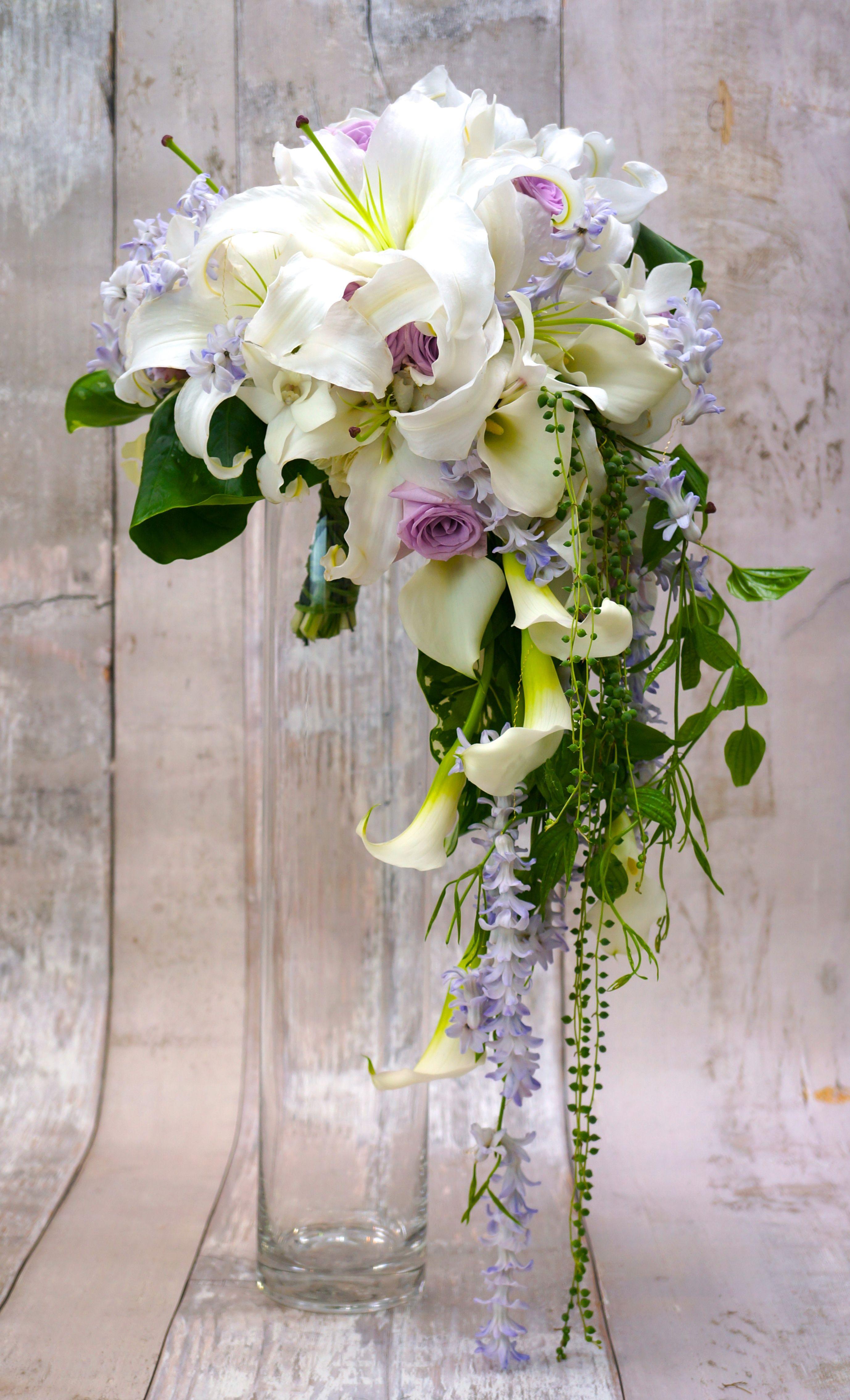 Crescent Cascading Bridal Bouquet With Lilies, Callas, Hyacinth, Etc Sakie