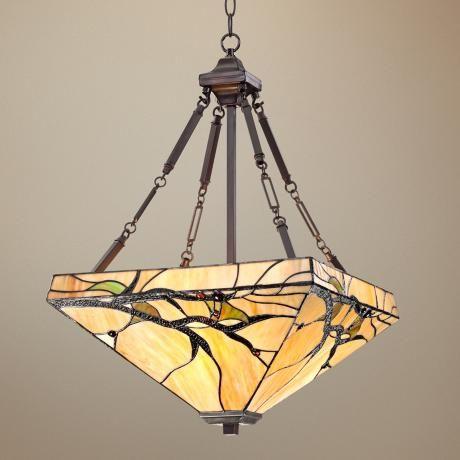 Tiffany Style Budding Branch 27 High Glass Pendant Light V8460