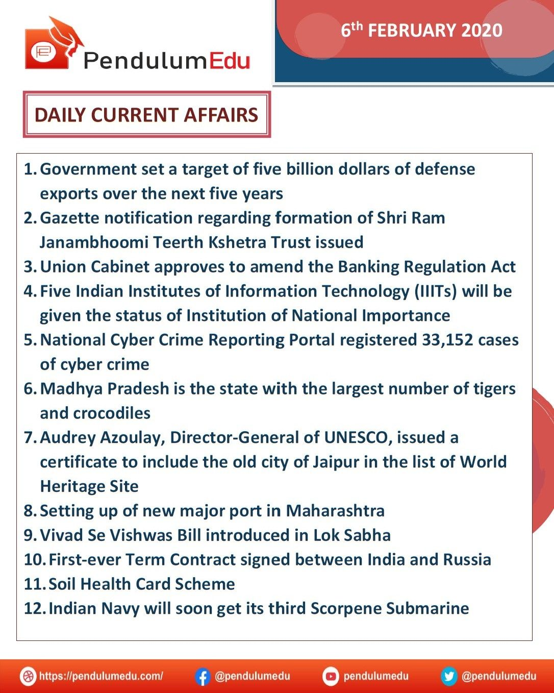 Daily Current Affairs in 2020 Current affairs quiz