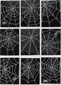 Spider Webs Spiderwebs, thanks to white paint markers on black card stock paper. Match made in heaven!Spiderwebs, thanks to white paint markers on black card stock paper. Match made in heaven!