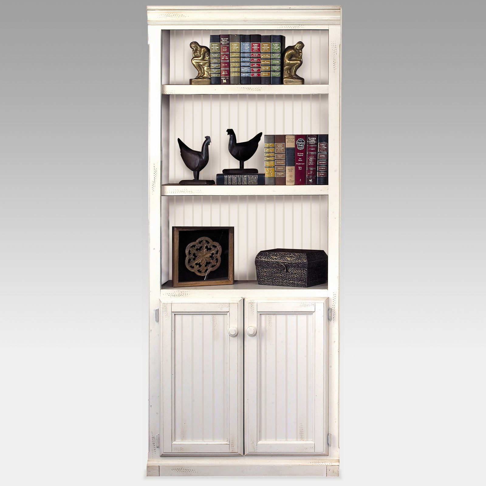 kathy ireland Home by Martin Southampton Wood Bookcase with Doors - White |  www.hayneedle.com