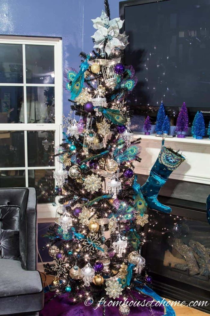 I love this step by step guide for how to decorate a Christmas tree. It has some great tips for making your Christmas tree decorations look awesome! And I love the glam purple, gold and blue color scheme. #fromhousetohome #christmas #christmasdecor #christmastree  #purplechristmas