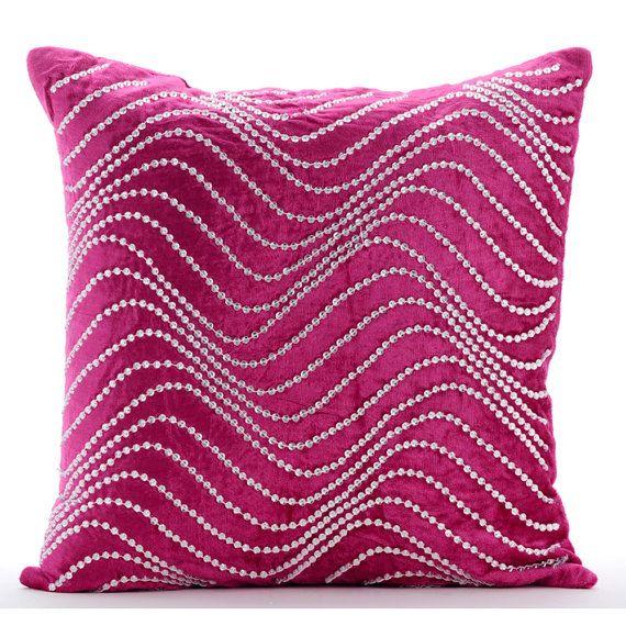 Fuchsia Pink Throw Pillows Cover 16 X16 Velvet Pillows Cover