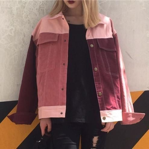 itGirl Shop PATCH COLORED PINKY RED DENIM JACKET Aesthetic Apparel ...