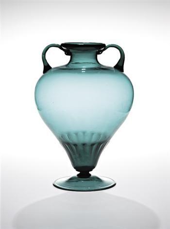 """VITTORIO ZECCHIN  Rare """"Biasato"""" colored glass vase, 1925-1930."""