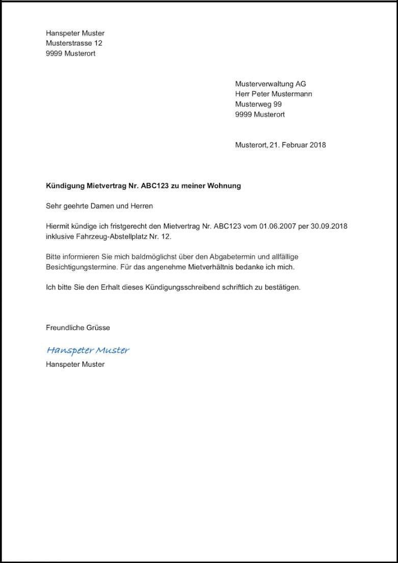 Vorlage Kundigung Wohnung Mietvertrag Schweiz