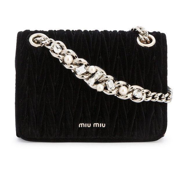 648ed74d839 Miu Miu Black Velvet Club matelassé crystal strap bag ( 1