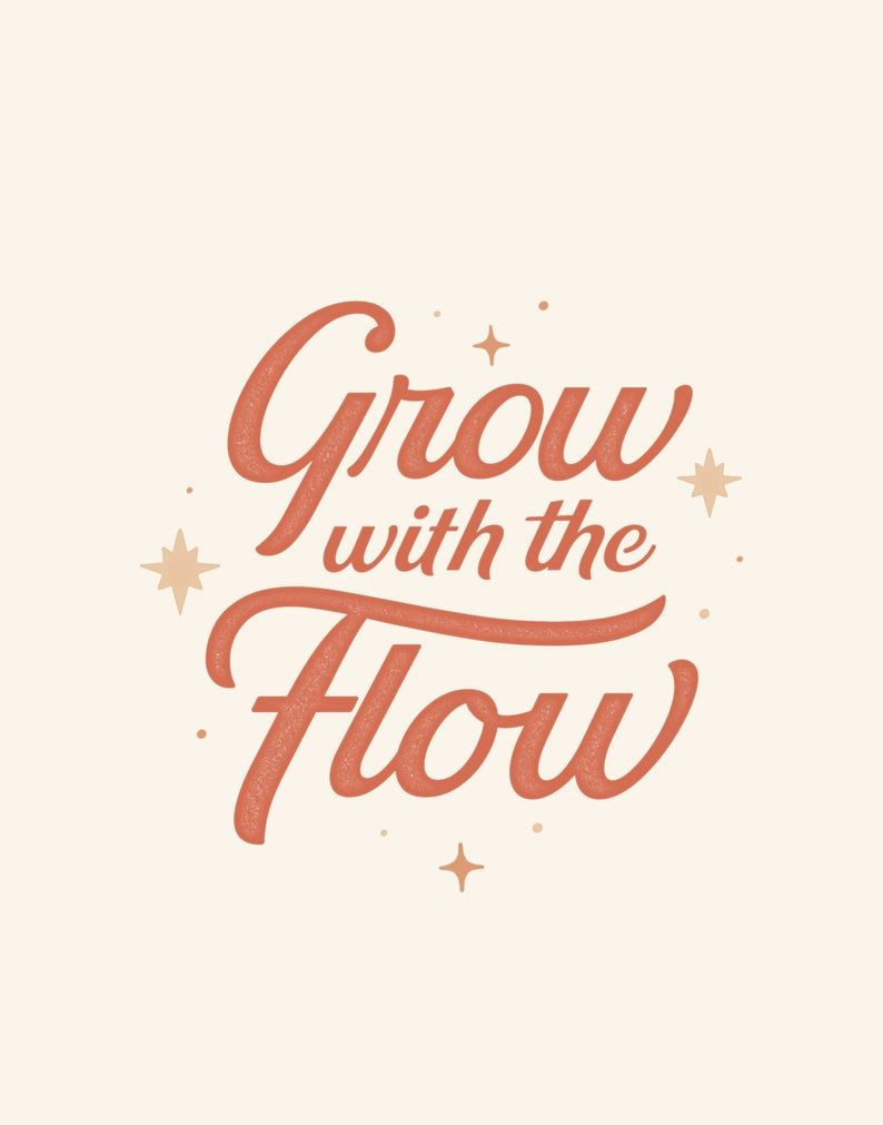 Typography  Grow With the Flow  Typography Print Art Prints | Etsy