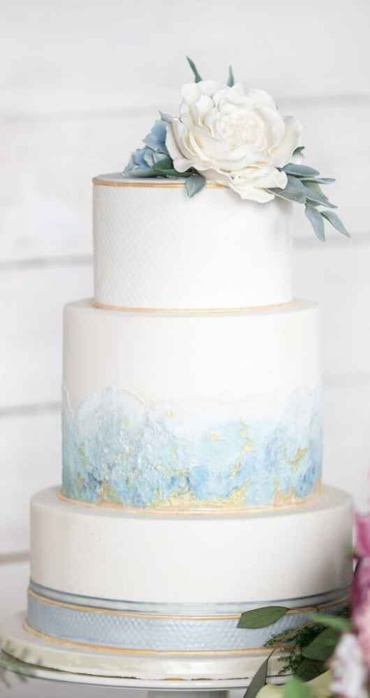 Baby Blue Serenity And Gold Traditional Wedding Cake Blue Garden Style Shoot Weddingda Wedding Cakes Blue Light Blue Wedding Cake Traditional Wedding Cakes