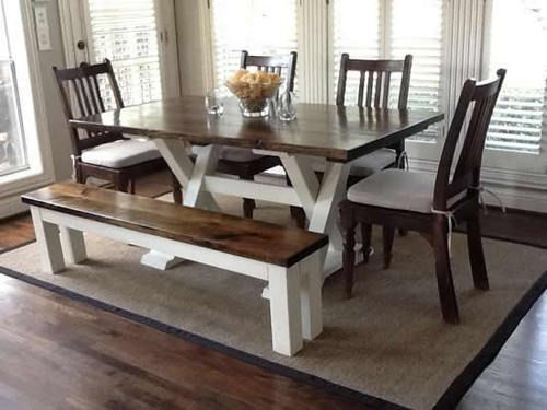 Superbe 6u0027 Trestle Table, No Apron, In Dark Walnut Stain With Ivory  Paint.(customize With Black Paint Instead)