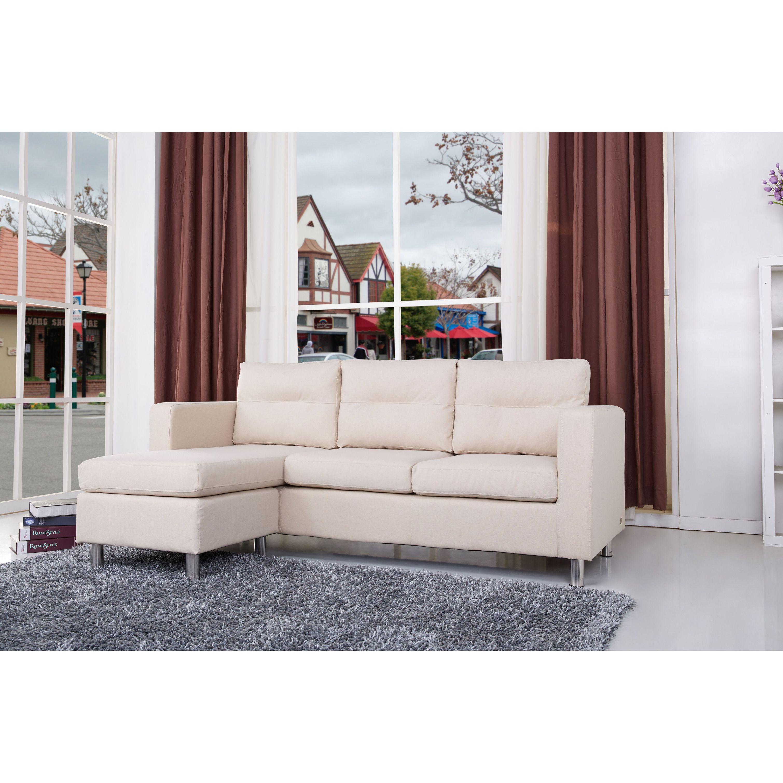 Surprising Detroit Beige Convertible Sectional Sofa And Ottoman Dailytribune Chair Design For Home Dailytribuneorg