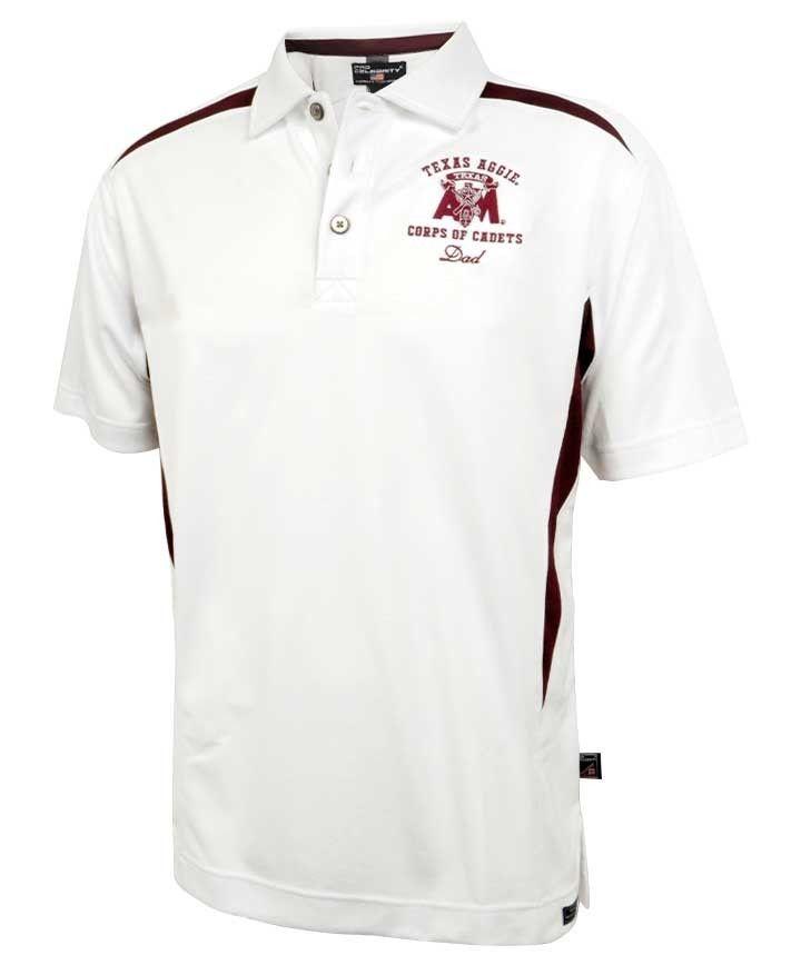 1eeb5a34 Texas A&M Aggies Corps of Cadets Dad White/Maroon Tesla Men's Polo Shirt