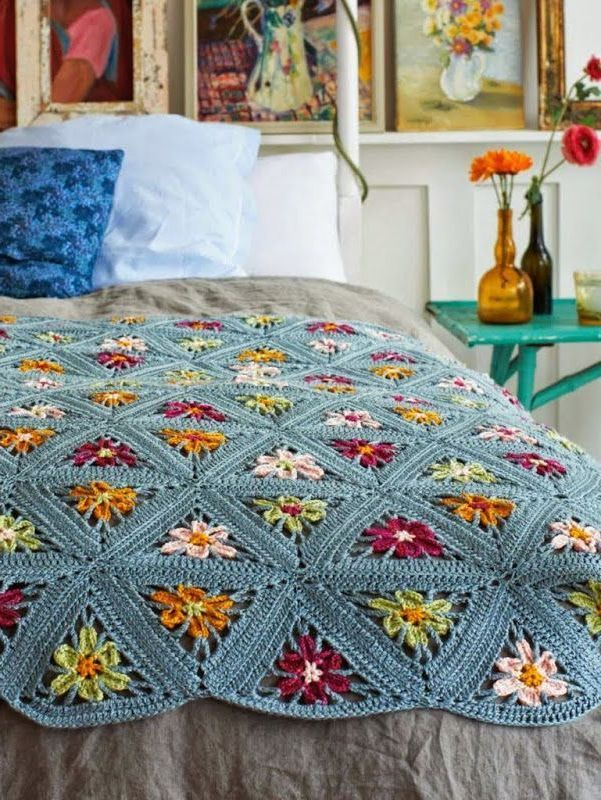 Pdf Digital Vintage Crochet Pattern Triangle Patchwork