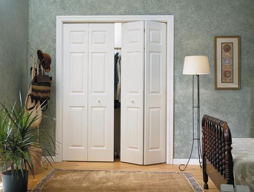 6 Pnl Primed Woodgrain Colonist 4 Leaf Bi Fold Door 60 X 80 At Menards Bifold Closet Doors Closet Door Alternative Sliding Closet Doors