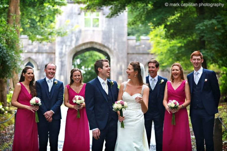 A laughing bridal party at Markree Castle wedding photographer sligo