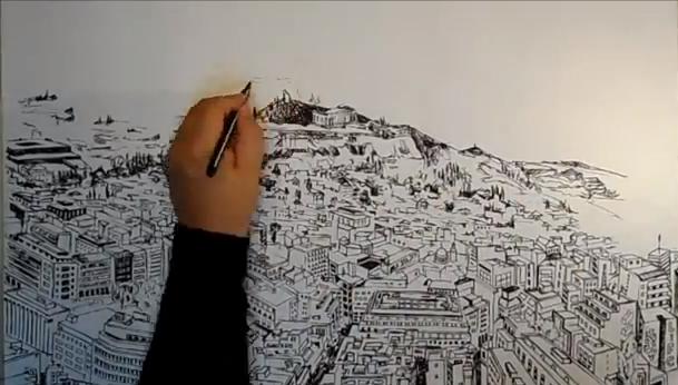 Πρόκειται για μία υπέροχη ζωγραφιά του Παντελή Τραμπούκη