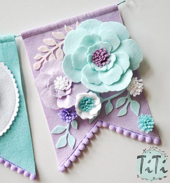 Personalized felt baby pennant banner name, Custom Boho decor, Bohemian Nursery, Aqua and purple, Flags banner, Pennant Banner, Felt flowers