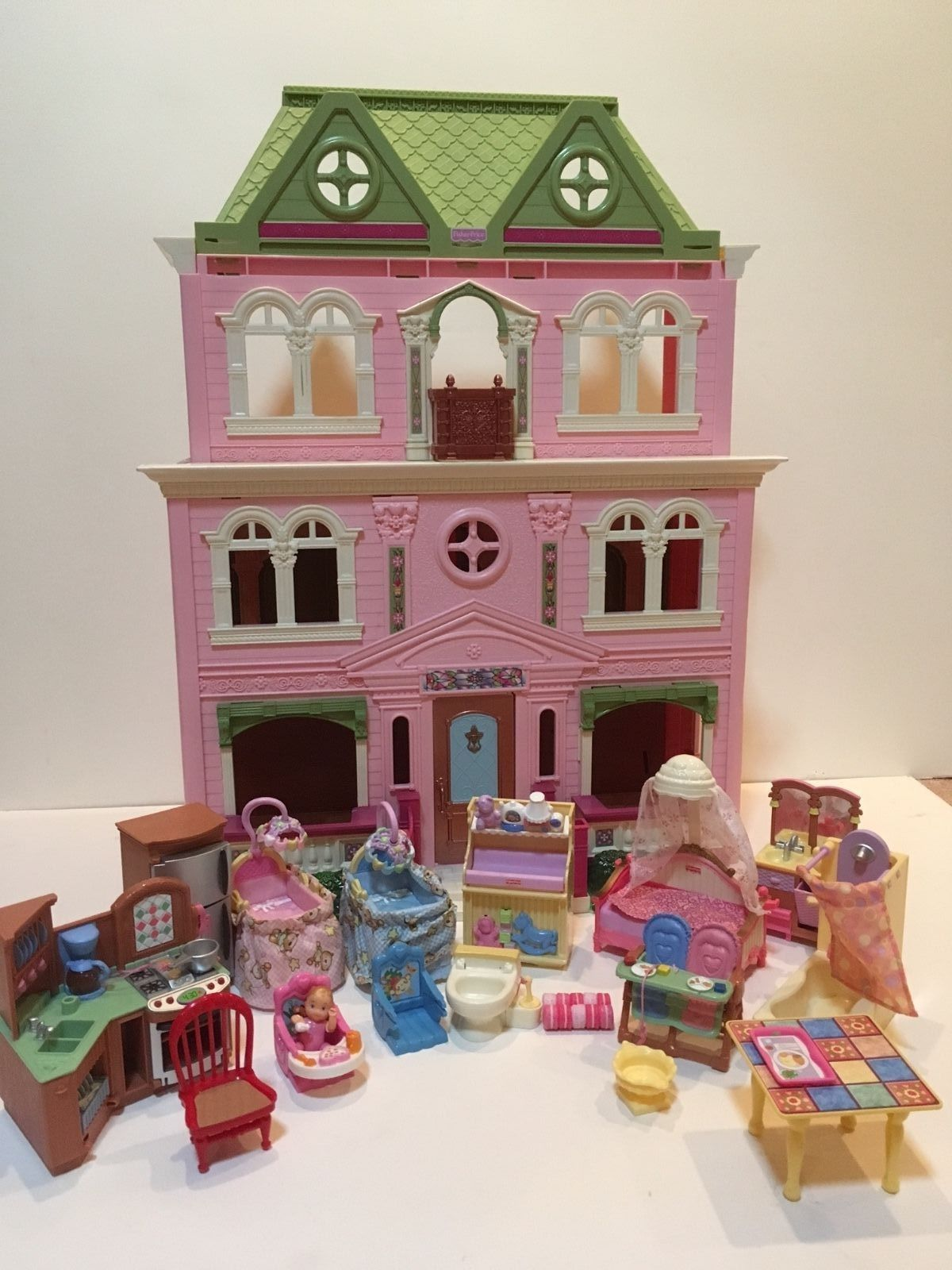 Fisher Price Loving Family Grand Mansion Doll House 4 Story Victorian,  Folds | eBay