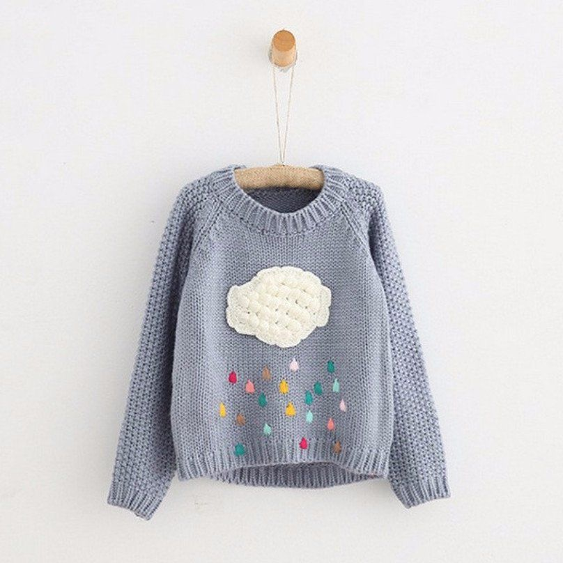 Rain Cloud Knitted Sweater | Baby girl sweaters, Kids