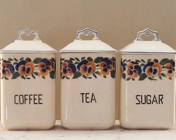 Vintage Ceramic Coffee Tea Sugar Jars Canisters Floral Cechoslovakia Czechoslovakia Set Of Three Kitchen Jars Vintage Canisters Vintage Coffee