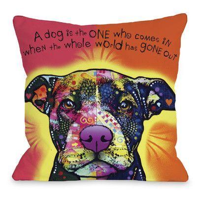 Winston Porter Kaelan Love A Bull With Text Throw Pillow Dog Canvas Dean Russo Art Gallery Wrap Canvas