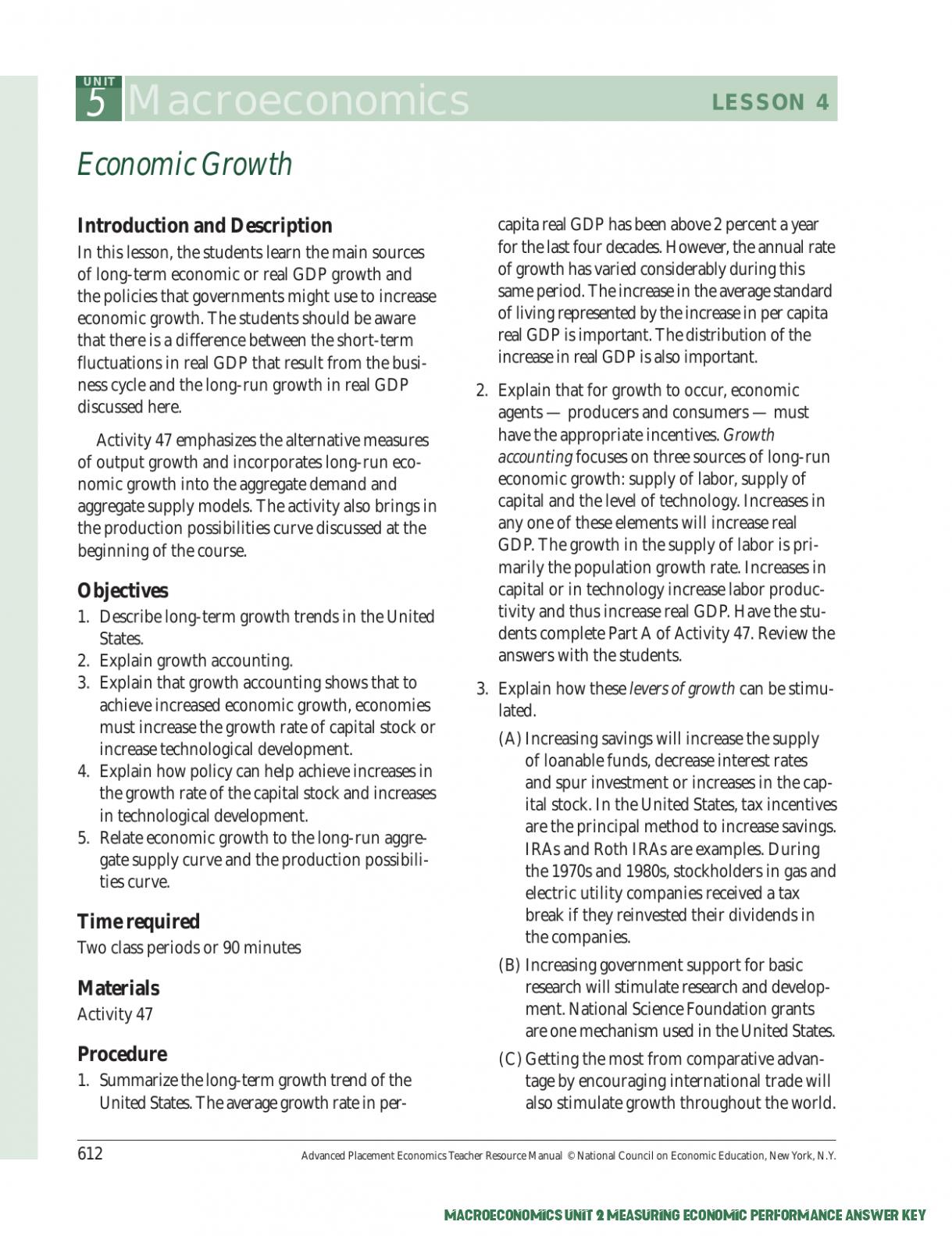 8 Facts About Macroeconomics Unit 8 Measuring Economic ...