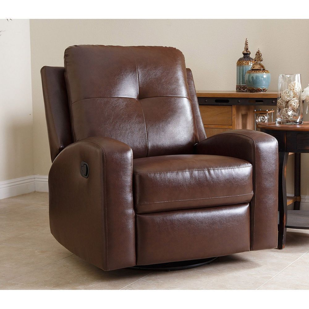 Easy chair recliner - Big Comfy Chair Glider Recliner Easy Chair Swivel Brown Bonded Leather Turns 360