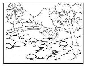 Spring Theme Coloring Pages For Kids Preschool And Kindergarten Landscape Drawing For Kids Coloring Pages Nature Nature Drawing