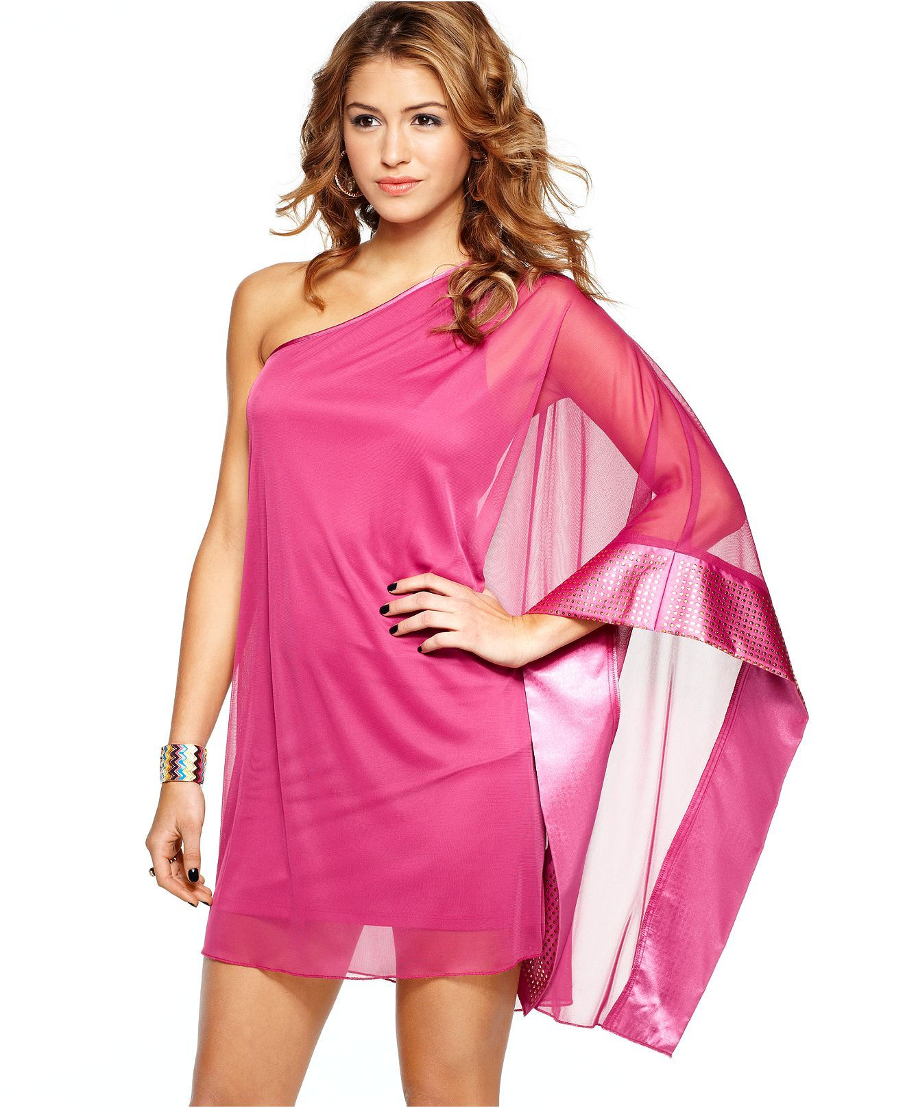 Ruby Rox Dress, Long Batwing Sleeve Studded Chiffon One Shoulder ...