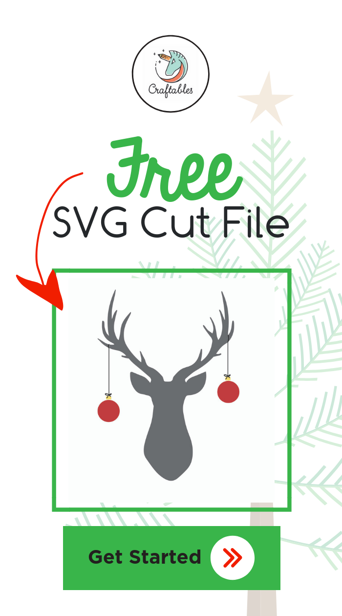This free deer w/ ornaments SVG cut file is compatible
