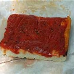 Rhode Island-Style Pizza Strips aka Bakery Pizza (this style of pizza is also available at Italian bakeries throughout New England & upstate New York)