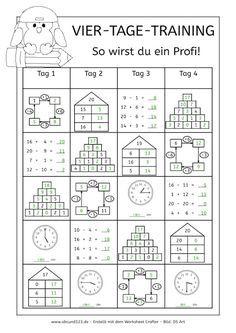 Vier-Tage-Mathe-Training (Zahlenraum bis 20) - | Arbeitsblätter ...