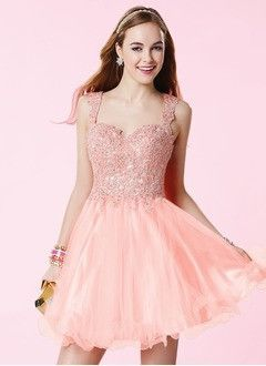 A-Line/Princess Sweetheart Short/Mini Organza Lace Prom Dress With Lace Beading