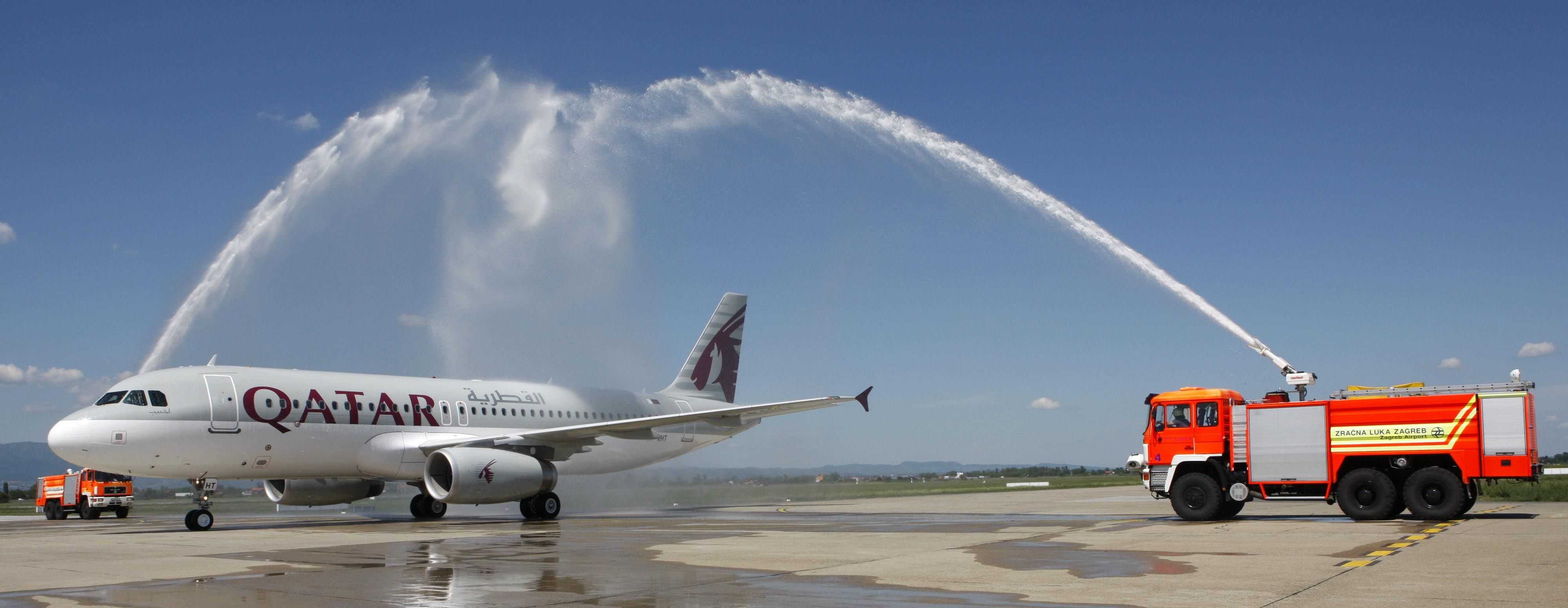 Qatar Airways Inaugural Flight From Doha To Zagreb Arrives In The Croatian Capital To A Traditional Water Salute Welcome Qatar Airways Qatar Zagreb